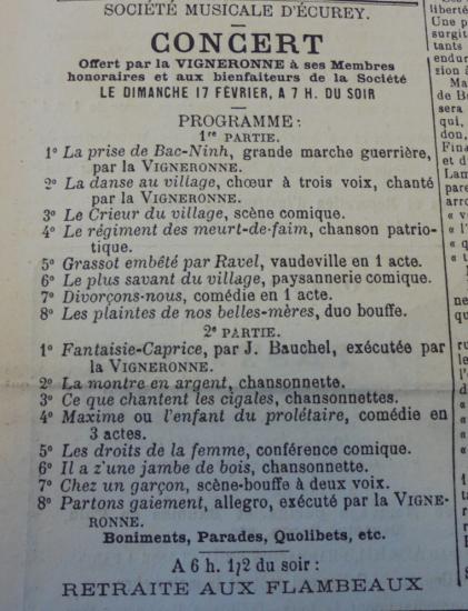 Ecurey concert 1889