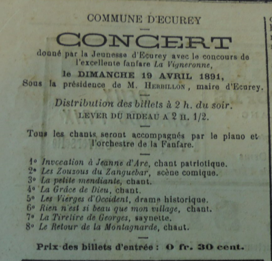 Ecurey concert 1891